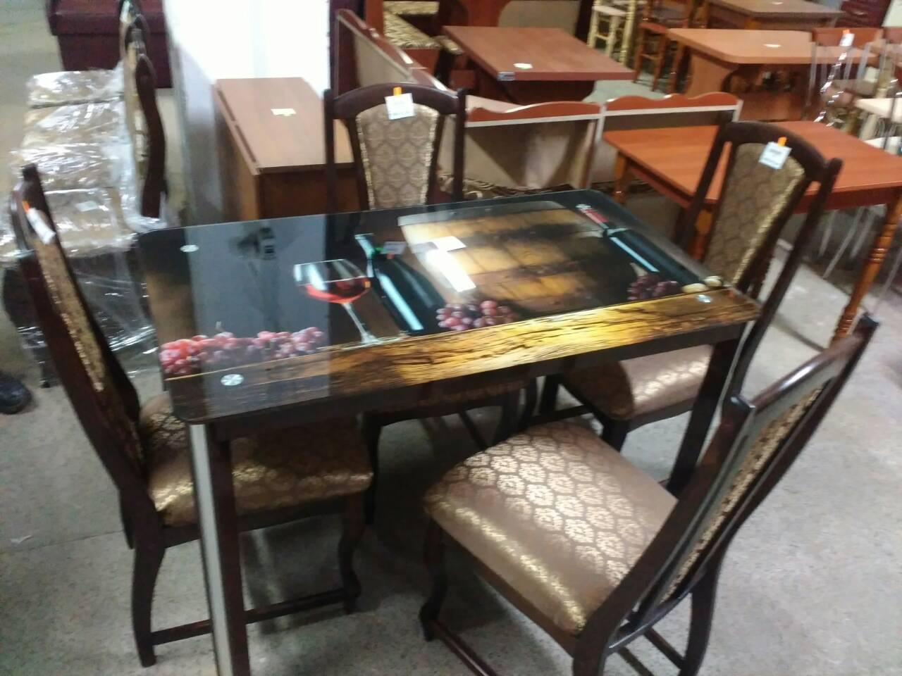 Стеклянный стол для кухни с рисунком Гелиос Антоник, цвет на выбор