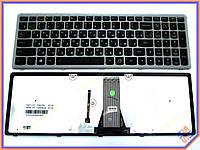 Клавиатура LENOVO IdeaPad S510p ( RU Black frame Silver, Подсветка клав). Оригинальная. Цвет Черный.