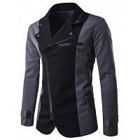 Наклонный Молния Fly Цвет Сращивание Нерегулярные Куртка M