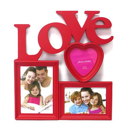 """Фоторамка или рамка для фото, купить мультирамку коллаж из фотографий на стену Youngpig """"LOVE""""  37х34х2 см. красная (533)"""
