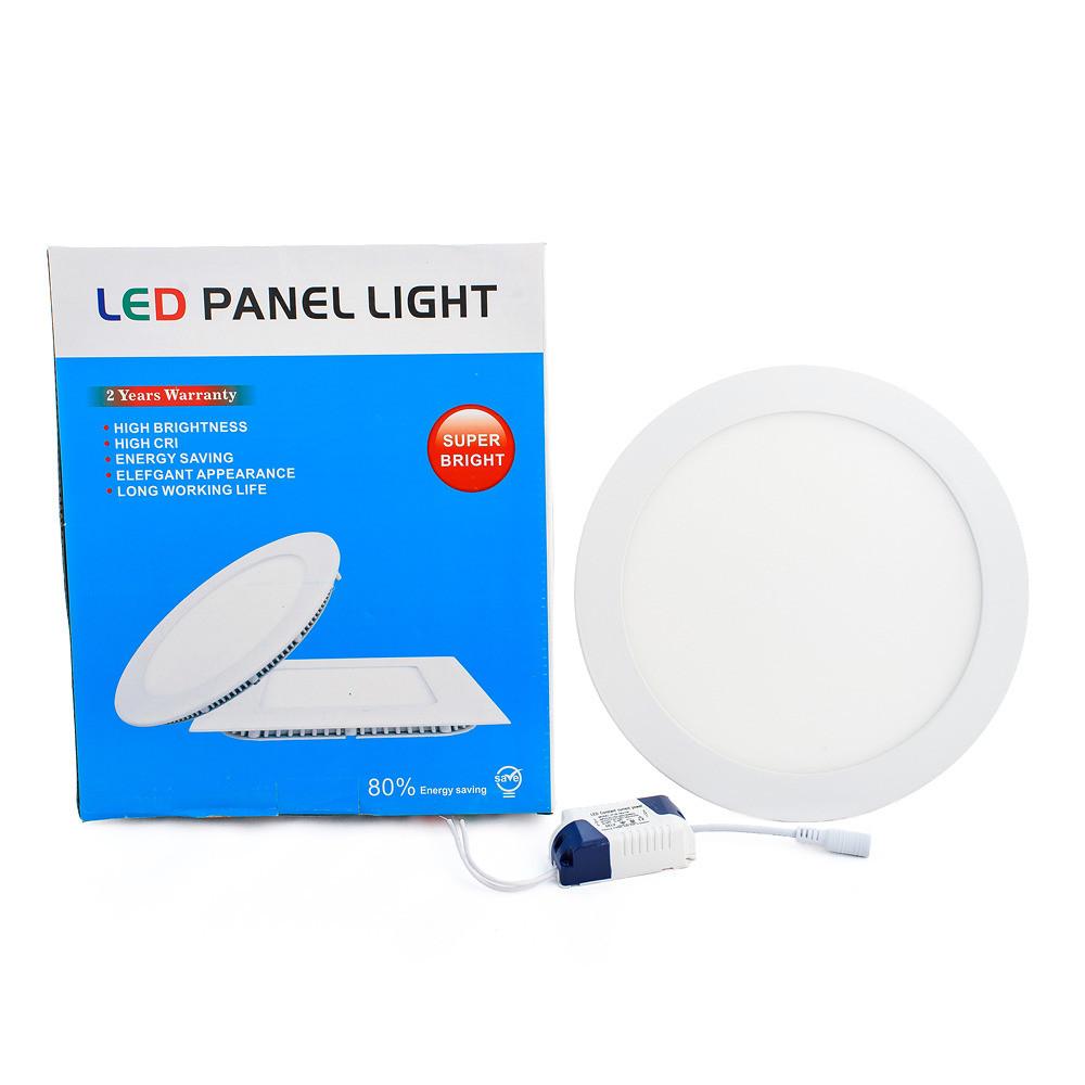 Світлодіодна панель Led або лед, купити енергозберігаючий діодний світильник круглий 18W, 6500k, 225×225х13 мм, Холодний (6500K)