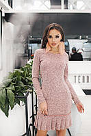 Женское короткое платье с рюшей