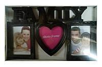 "Фоторамка 3 фото ""Family"" с сердцем черная, Розовый, Пластик, Коллаж из 3-х фото"