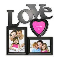 """Фоторамка или рамка для фото, купить мультирамку коллаж из фотографий на стену Youngpig  """"LOVE"""" 37х34х2 см. черная (993)"""