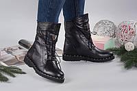 Ботинки на шнурках РР. Натуральная кожа/замш, внутри на байке. Высота 25см, Каблук 2,5 см. Турецкая подошва.