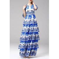 Круглым воротом Печатный Макси бальное платье M