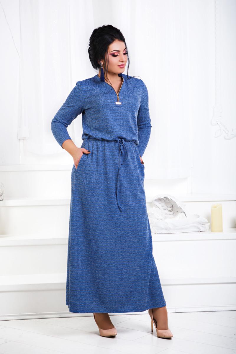 Д1333 Ангоровое длинное платье размеры 42-56