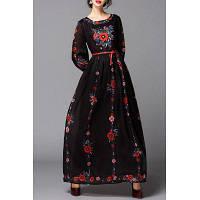 Цветок Вышитые Maxi подпоясанный платье XL