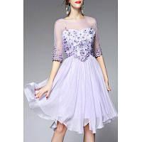Круглый шеи Вуаль сплайсингу цветочной вышивкой платье L