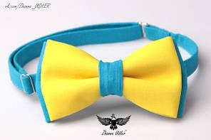 Галстук-бабочка желто-голубая