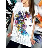 Вскользь с коротким рукавом Цветочные Фокс шаблон Женщины футболка S