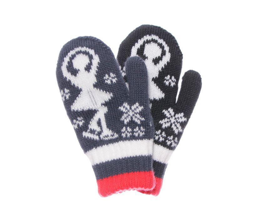 Детские теплые красивые вязанные рукавички с рисунком.