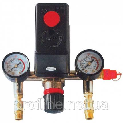 Прессостат в сборе (прессостат, редуктор, 2 манометра, предохранительный клапан, два выхода) INTERTOOL PT-9094, фото 2