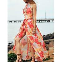 Стильная подставка образным вырезом без рукавов Печатный открытый сзади Женщины платье S