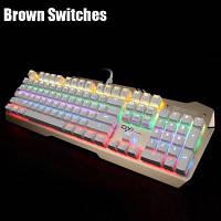 Team Wolf X06S NKRO CIY проводная USB механическая клавиатура со светодиодным индикатором Белая кнопка клавиши+Коричневые Переключатели