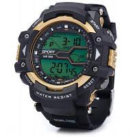 8338G Многофункциональные мужские светодиодные спортивные часы цифровые наручные часы отображение даты дня функция тревоги секундомера Золотой