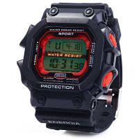 8332G Мужские спортивные светодиодные часы день дата будильник секундомер Красный