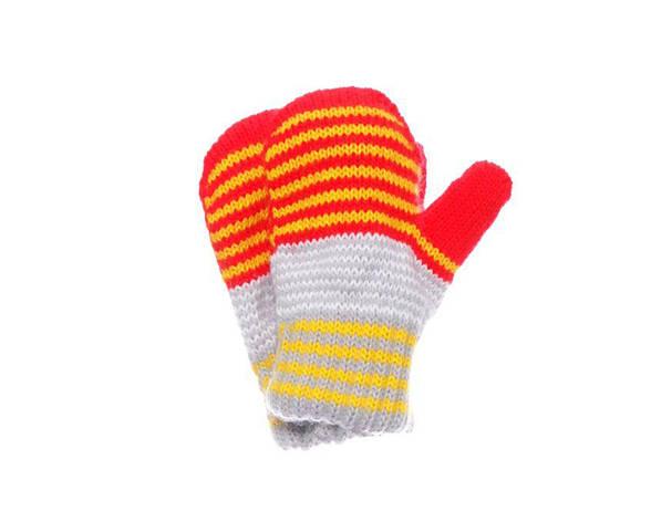 Дитячі теплі красиві в'язані смугасті рукавиці., фото 2