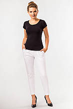 Летние белые женские брюки со складками