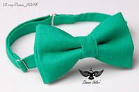 Галстук-бабочка ярко-зеленый лен