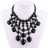 Старинные Сплошной Цвет Искусственного Камня Прямоугольник Выдалбливают Ожерелье Для Женщин Чёрный