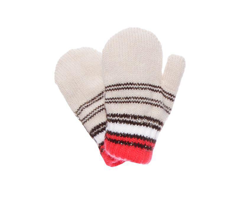 Дитячі теплі красиві в'язані рукавички з люрексом.