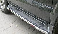 Боковые подножки (круглые под пороги ) для Toyota Land Cruiser 120
