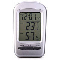 QF665 5 в 1 цифровой измеритель температуры и влажности / календарь / часы / будильник Серебристо-серый