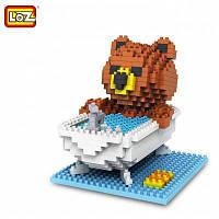 Лоз 350пк 9429 бурый Медведь поливать строительный блок игрушки для укрепление социальной способности взаимодействия Цветной