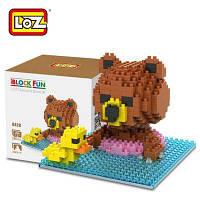 Лоз 280pcs 9428 бурый Медведь бассейн строительный блок игрушки для укрепление социальной способности взаимодействия Цветной