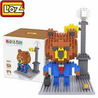 Лоз 340пк 9431 бурый Медведь костюм с здание блок игрушки для укрепление социальной способности взаимодействия Красочный