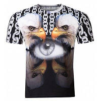 Повседневный пуловер круглым воротом 3D Bird Печатный футболки для мужчин M