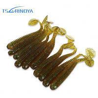 TSURINOYA 10шт искусственные мягкие светящиеся приманки рыб серый и зеленый