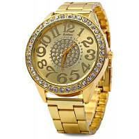 Kanima Роскошные женские кварцевые часы с круглым циферблатом со стразами и браслетом из нержавеющей стали Золотой