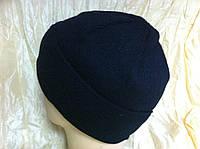 Вязанная мужская  шапка цвет темно синий, фото 1