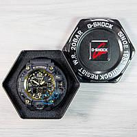 Черные часы с золотыми вставками casio g-shock, часы мужские касио