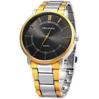 Орландо Z390 Мужской Кварцевые часы с золотой Чехол Чёрный