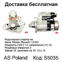 Стартер на Renault Scenic 1.5 DCi, Рено Сценик 1.5 дци, аналог TS12E9, M0T87881, CS1332
