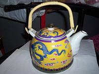 Чайник керамический с плетеной ручкой