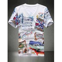 V-образным вырезом 3D Ручная роспись Печать Цвет блока Отверстия Дизайн с коротким рукавом футболки для мужчин M