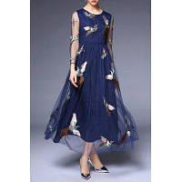 Круглый воротник Voile вышивки платье XL