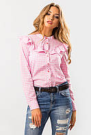 Розовая рубашка женская с рюшей