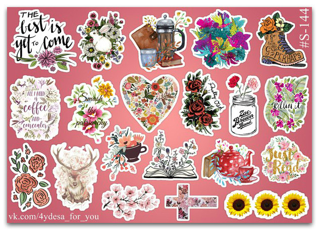 Stickers Pack Flowers, Цветы #144