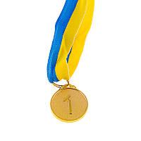 Медаль 1 место наградная с лентой, d=29 мм