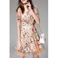 Цветочные и птицы Вышитые сетки платье L