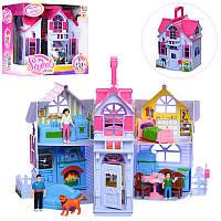 Кукольный домик раскладной с мебелью 611: 3 фигурки в комплекте