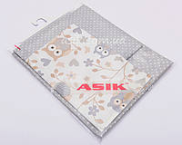 Сменная детская постель Asik Серо-бежевые совы с горошком на сером фоне 3 предмета (3-264)