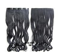 Накладная прядь на 5-ти клипсах-заколках, наращивание волос, волнистые длинные волосы, шиньон, цвет - №1