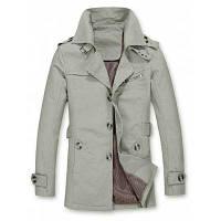 Однобортное пальто с погонами и пряжками 4XL