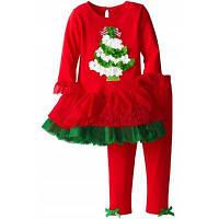 Красный рождественский наряд для девочки Платье с елкой и рюшами+Штаны 130